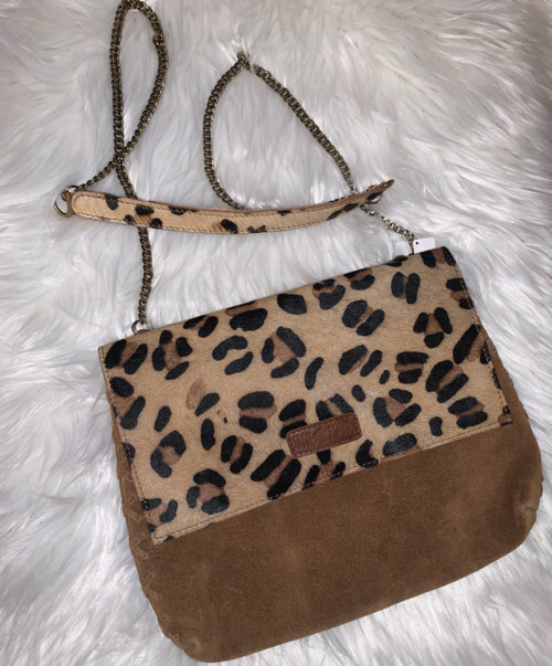 Leopard & Suede Crossbody Purse
