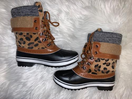 Kendra Leopard Casual Rain Boots