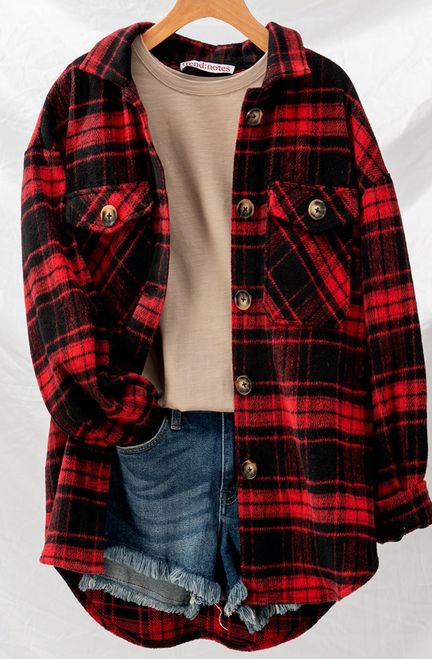 Katherine Plaid Oversized Button Down Jacket
