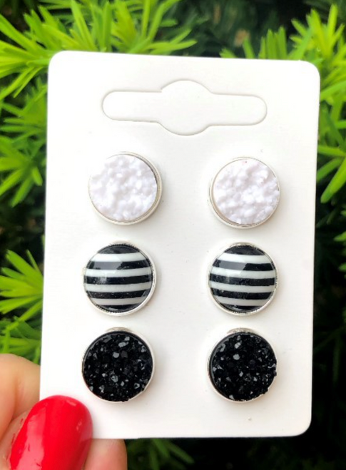 Black & White Druzy Trio