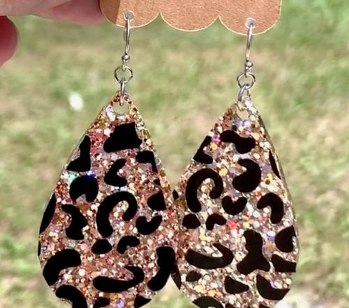Leopard Glitter Dangle Earrings