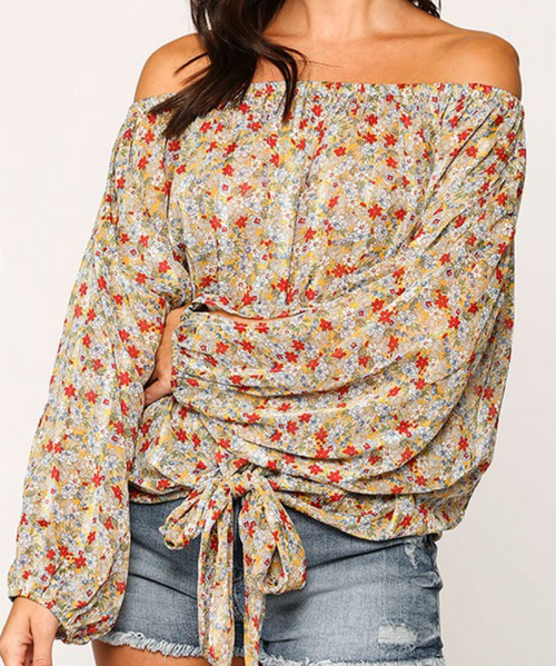 Alyssa Floral Chiffon Off The Shoulder Top