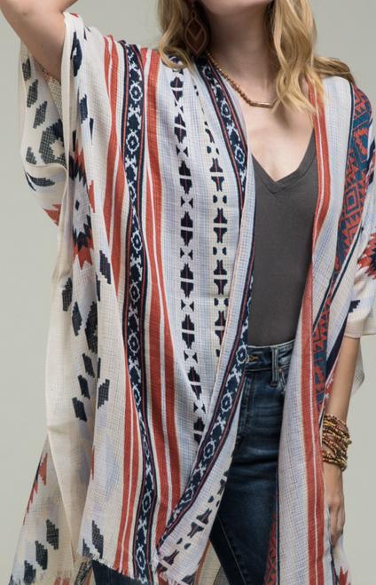 Malia BoHo Ethnic Print Kimono