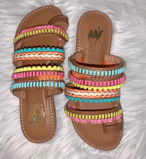 Boho Camel Bright Slip On Sandals