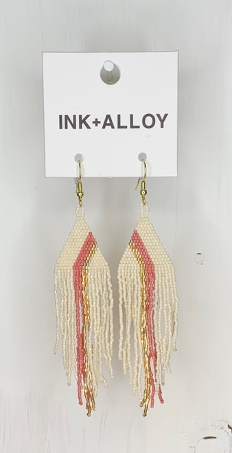 Ivory With Terra Cotta Stripe Luxe Earring by Ink + Alloy