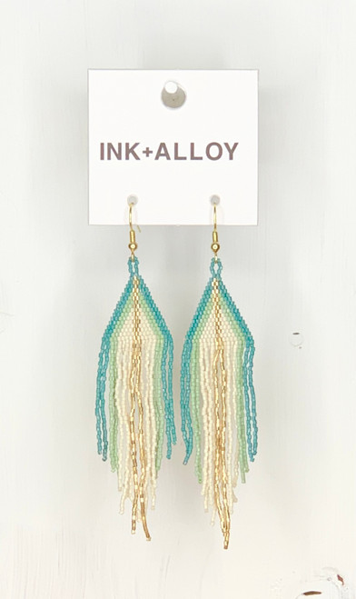 Ivory With Teal Ombre Luxe Earring by Ink + Alloy