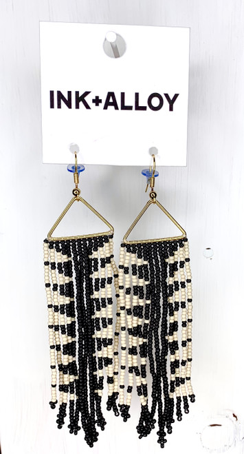 Black And Ivory Arrow Fringe Earring by Ink + Alloy