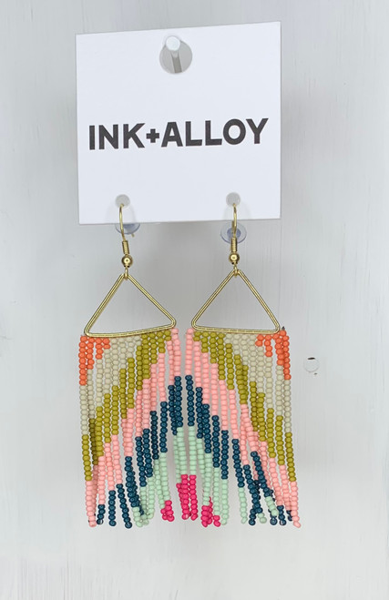 Pink w/ Citron Peacock Fringe Earring by Ink + Alloy