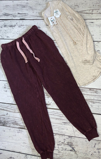 Burgundy Washed French Terry Joggers