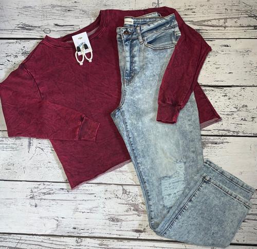Ruby Washed Raw Hem French Terry Sweatshirt