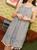 THML Halter Stripe Embroidered Dress