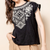 THML Black Flutter Sleeve Knit Top w/ Embroidery
