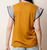 THML Mustard Embroidered Top w/ Stripe Accents