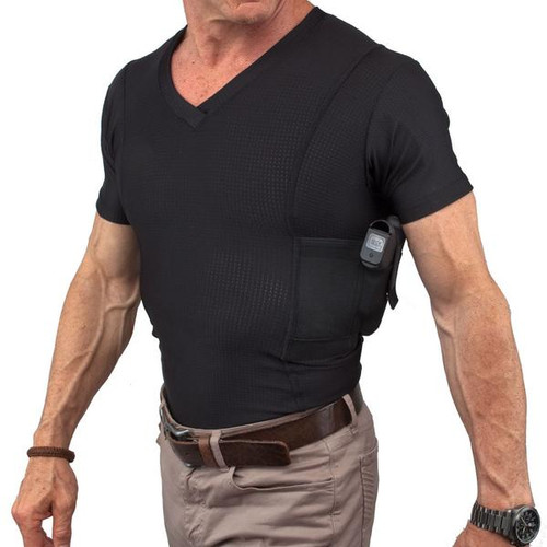 Mens Concealed Carry V Neck Coolux Shirt