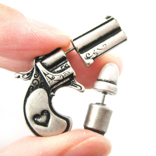 Pistol And Bullet  Studs Gun Silver Earrings