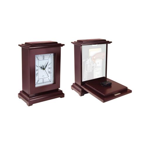 Mahogany Concealment Clock - Rectangle