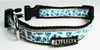 White Dots on Blue Ribbon Dog Collar - Reflective - Nylon - Super Strength