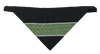 Gold Scrolls On Green - Reflective Dog Bandana - One Size to Fit Medium to Large Dogs