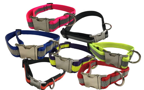 Bite Proof/No Chew Dog Collar - Reflective - Tubular Nylon - Super Strength (PF-CPDC)