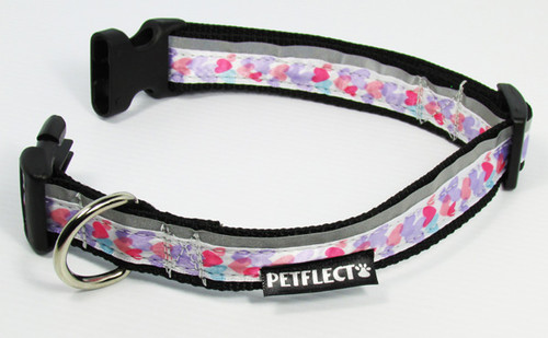 Hearts Themed Dog Collar - Reflective - Nylon - Super Strength
