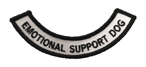 """Emotional Support Dog"" Rocker Patch - 100% Embroidered Nylon - Sewn In - Service Animal"