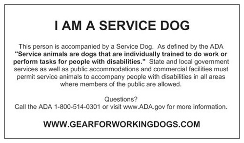 ADA Service Dog Card With Guidelines and Definition (24 Cards)