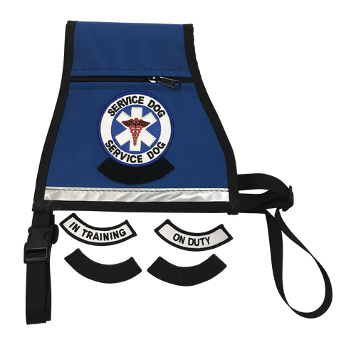 Service Dog All-In-One Reflective Dog Vest - Interchangeable Patches - Converts From In Training to On Duty With Stick On Patches - Includes Reflective Strip