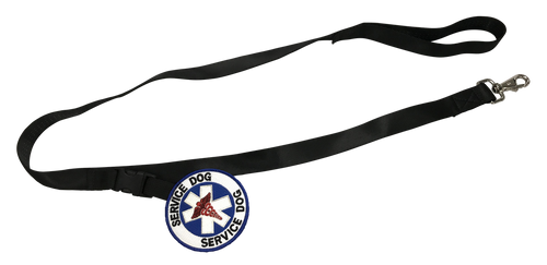 Snap It Leash with Patch Emblems - Nylon - Super Strength - 100% Embroidered - Service Animal