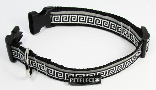 Greek Key Dog Collar - Reflective - Nylon - Super Strength