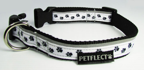 Puppy Paws Patterned Dog Collar - Reflective - Nylon - Super Strength
