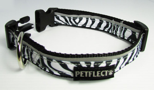 Zebra Patterned Dog Collar - Reflective - Nylon - Super Strength