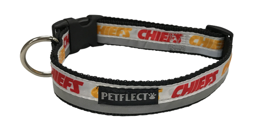 Kansas City Chiefs Dog Collar - Reflective - Nylon - Super Strength - NFL Team Logos