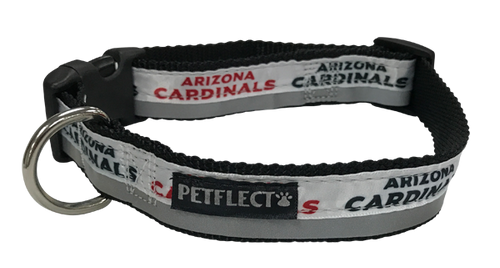 Arizona Cardinals Dog Collar - Reflective - Nylon - Super Strength - NFL Team Logos