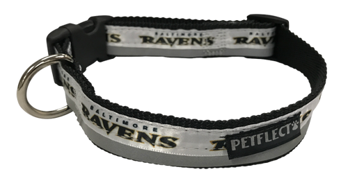 Baltimore Ravens Dog Collar - Reflective - Nylon - Super Strength - NFL Team Logos
