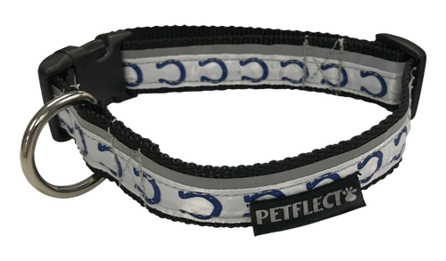 Indianapolis Colts Dog Collar - Reflective - Nylon - Super Strength - NFL Team Logos