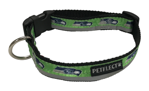 Seattle Seahawks Dog Collar - Reflective - Nylon - Super Strength - NFL Team Logos