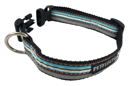 Brown Blue Horizontally Striped Dog Collar - Reflective - Nylon - Super Strength