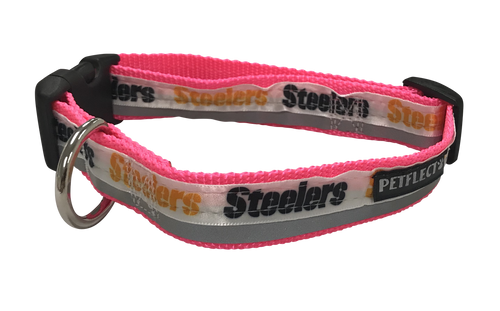 Pittsburgh Steelers Dog Collar - Reflective - Pink Nylon - Super Strength - NFL Team Logos