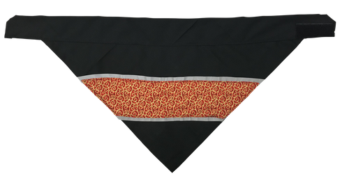 Gold Scrolls On Red - Reflective Dog Bandana - One Size to Fit Medium to Large Dogs