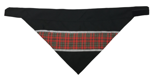 Red & Green Plaid - Reflective Dog Bandana - One Size to Fit Medium to Large Dogs