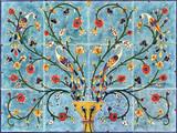 Peacocks and pomegranate tree ceramic tile mural