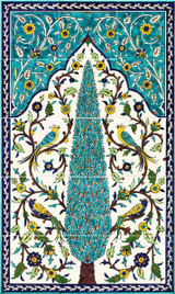 Cypress tree tile mural, with birds of paradise, hand painted, 18 x 30 inches