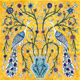 Yellow peacocks tile mural, 18x18 inches