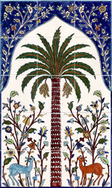 Palm tree ceramic tile mural, 18 x 30 inches