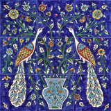 Cobalt blue peacocks tile mural, 18 x 18 inches