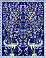 Magnificent cobalt blue birds tile mural