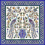 Two peacocks with cobalt blue border tiles, 24 x 24 inches