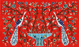 Red peacocks of paradise tile mural, 18 x 30 inches
