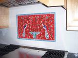 Nancy's red peacocks tile mural backsplash