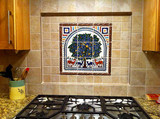 Tree of Life tile mural installed in stove top